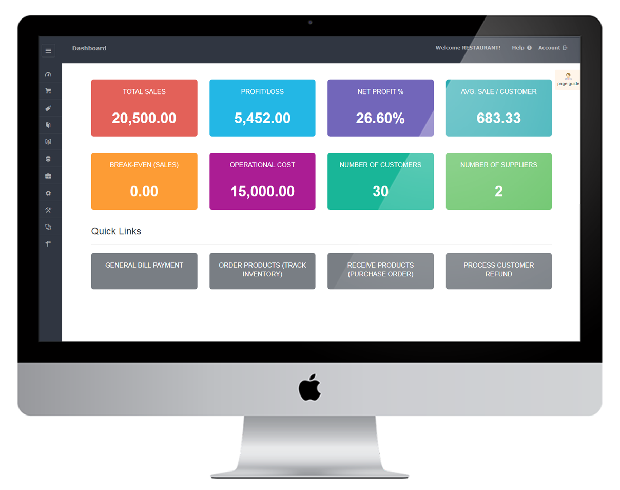 Cost accounting sample dashboard